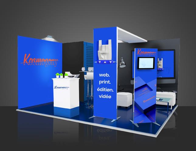 Stand d'exposition aux couleurs de la marque Kosmogony